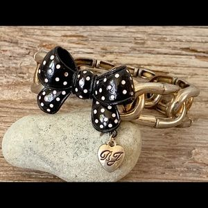 Betsey Johnson black polka dot bow bracelet